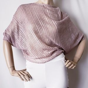 Just Me Beige/Silver Sheer Assymetrical Blouse